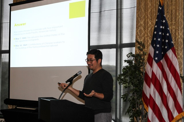 Paul Cheung, Associated Press director of Interactive and Digital News Production and president of the Asian American Journalists Association, was the guest speaker at the annual Asian American Pacific Islander Heritage Month Observance May 4 at the West Point Club. Cheun talked about the various stereotypes of Asian Americans (U.S. Army photo by Kathy Eastwood, USMA Public Affairs/released.)