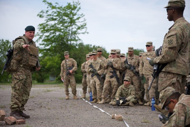 In addition to the room cleaning and medical evacuation training that took place May 13 at Noble Partner, Soldiers assigned to Company A learned about cordon perimeter procedures, which included checking surrounding areas for threats while dismounting transportation, especially within five and 25 meters.