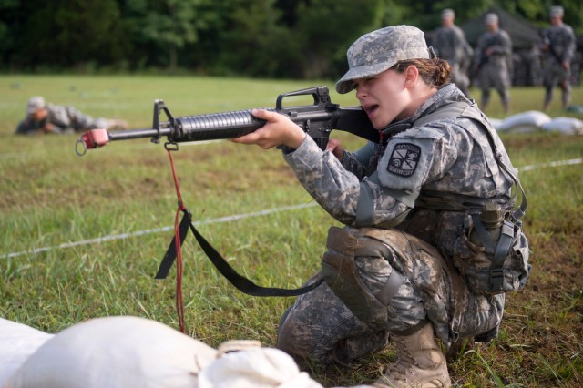 Cadet Dietta Hahn, from University of Wisconsin-Madison, practices individual movement techniques such as low crawl, high crawl, and three to five second rushes during last year's CST at Fort Knox. (Photo by Matt Lunsford, Cadet Command Public Affairs)