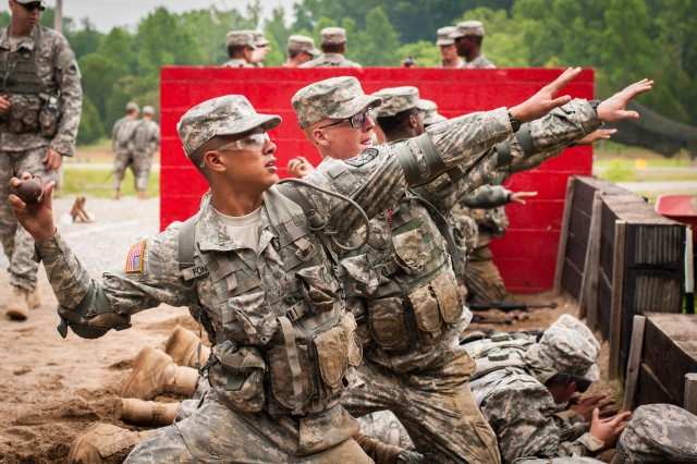 Cadets practice throwing grenades during last summer's CST at Fort Knox. (Photo by Jenny Hale, Cadet Command Public Affairs)