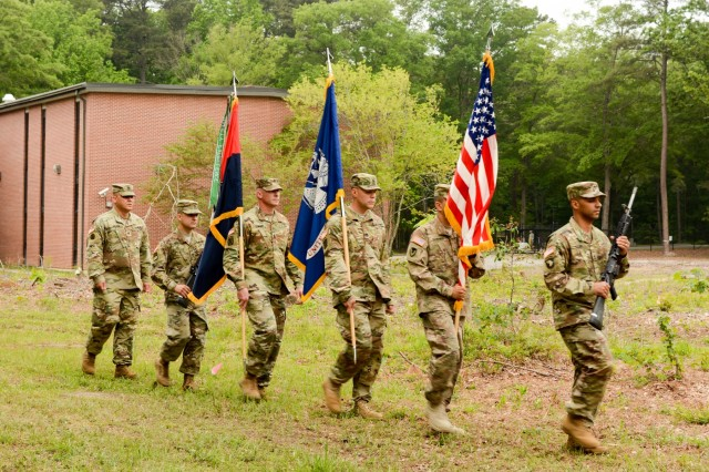 Second Transportation Brigade, 94th Training Division color guard during the division's groundbreaking ceremony for a new training facility May 12, 2016. The 39,127-square-foot training center will be equipped with 15 classrooms and will include a maintenance training area for transportation courses, as well as a state of the art instructional kitchen for food service specialist courses. Ninety-fourth TD instructors could potentially train 2,635 Soldiers while teaching 120 classes annually.