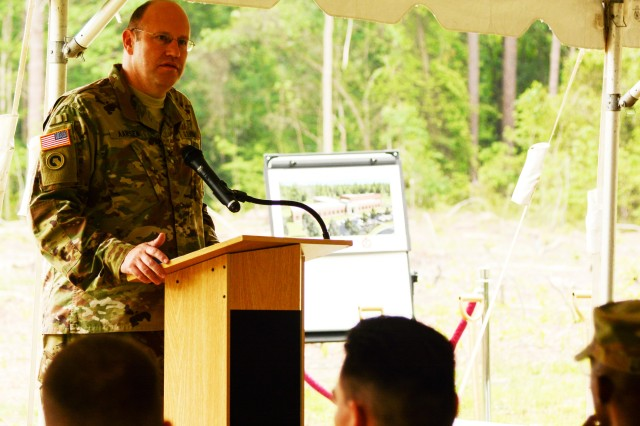 "Col. John W Aarsen, assistant commander 94th Training Division, addresses the audience during the 94th TD's groundbreaking ceremony for a new training facility May 12, 2016. The 39,127-square-foot training center will be equipped with 15 classrooms and will include a maintenance training area for transportation courses, as well as a state of the art instructional kitchen for food service specialist courses. Ninety-fourth TD instructors could potentially train 2,635 Soldiers while teaching 120 classes annually. ""This division has had a long commitment to the American public and this new building helps demonstrate this support that the American people have for our mission,"" Aarsen said."