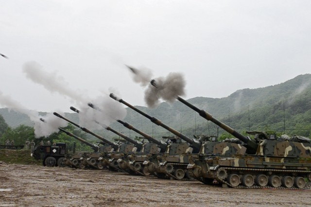 South Korean Soldiers in the 631st Field Artillery Battalion, 26th Mechanized Infantry Division Artillery, coordinate fires from a battery of six K9 Thunder 155 mm self-propelled howitzers May 10, in a joint artillery exercise with Soldiers from the U.S. Army 1st Battalion, 82nd Field Artillery Regiment, 1st Armored Brigade Combat Team, 1st Cavalry Division. (U.S. Army photo by Pfc. Dasol Choi, 1st Armored Brigade Combat Team Public Affairs, 1st Cav. Div.)