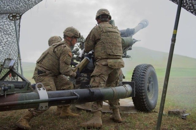 VAZIANI TRAINING AREA, Georgia - A paratrooper assigned to Battery B, 4th Battalion, 319th Airborne Field Artillery Regiment, 173rd Airborne Brigade, removes a 105mm artillery shell from a M119A3 Howitzer's discharge port, May 16, during a live-fire training mission at Vaziani Training Area, Georgia, during Exercise Noble Partner 16. The exercise is happening, May 11 to 26, and includes approximately 1300 participants from the U.S., Georgia and the U.K. The exercise is a reoccurring training event that takes place at Vaziani Training Area, Georgia. Noble Partner 16 is a critical part of Georgia's training for its contribution of a light infantry company to the NATO Response Force (NRF) and enhances Georgian territorial self-defense capability.