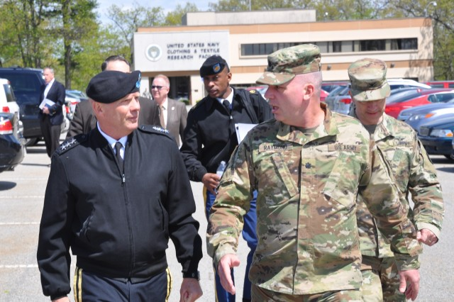 Lt. Gen. Kenneth R. Dahl, IMCOM commander, walks with Lt. Col. Ryan Raymond, USAG Natick garrison commander, during a May 16 visit to the installation.