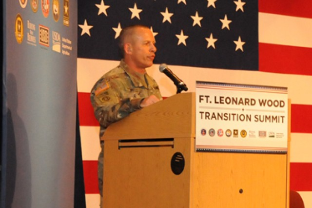 Col. Andy Herbst, U.S. Army Garrison Fort Leonard Wood commander, welcomes service members and Families to the Fort Leonard Wood Transition Summit May 11.