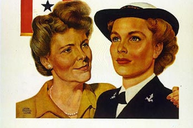 This war poster features a blue star flag in the background. Service Flags were an integral part of the culture and war effort throughout Word War II. (Courtesy photo.)