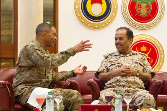 Lt. Gen. Michael X. Garrett, the commanding general of U.S. Army Central, discusses ways to strengthen partnership capabilities with Bahraini Maj. Gen. Abdulla Al Nuaimi, the general inspector for the Bahraini Defense Forces at the their Headquarters in Manama, Bahrain, April 28, 2016. The USARCENT command team met with leaders of partner militaries throughout USARCENT's area of responsibility to continue to build bilateral partnership ties. (U.S. Army photo by Sgt. David N. Beckstrom, 19th Public Affairs Detachment, U.S. Army Central)