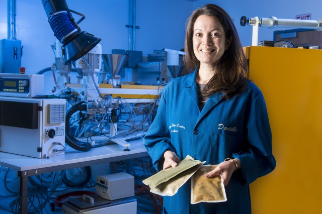Danielle Froio (pictured here), a materials engineer at the Natick Soldier Research, Development and Engineering Center, is working on food packaging and processing techniques to support a future NASA mission to Mars. Froio is investigating the effects of various food processing techniques and packaging materials on vitamin stability and shelf life. Her work on packaging is part of a larger NSRDEC Combat Feeding Directorate project with NASA to support a future mission to Mars.