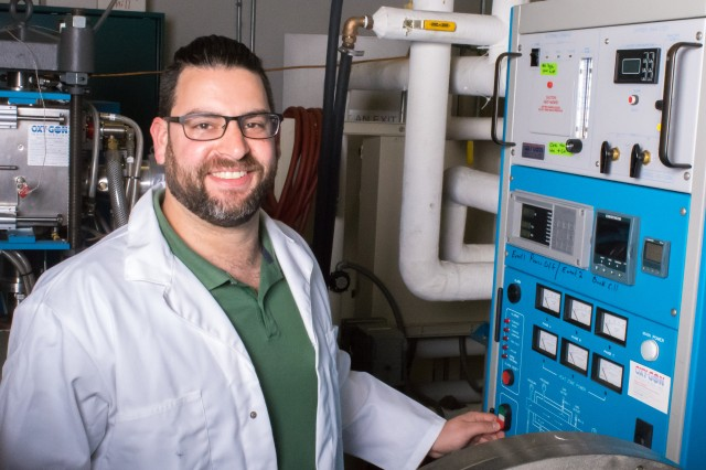 Army researcher Dr. Clayton Weiss pushes scientific discovery for unprecedented levels of ceramic armor performance. (U.S. Army photo by David McNally)