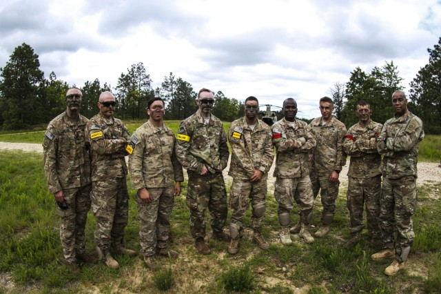 The 1st Battalion, 504th Parachute Infantry Regiment, 1st Brigade Combat Team, 82nd Airborne Division, pose for a group photo during the Little Group of Paratroopers event of All American Week 2016,Fort Bragg, N.C. May 23. The LGOP event tested the paratroopers on their essential task list with events such as rigging their equipment, readying their equipment for service, and a layout of all required equipment. (U.S. Army photo by Staff Sgt. Christopher Freeman/ 82nd CAB PAO)