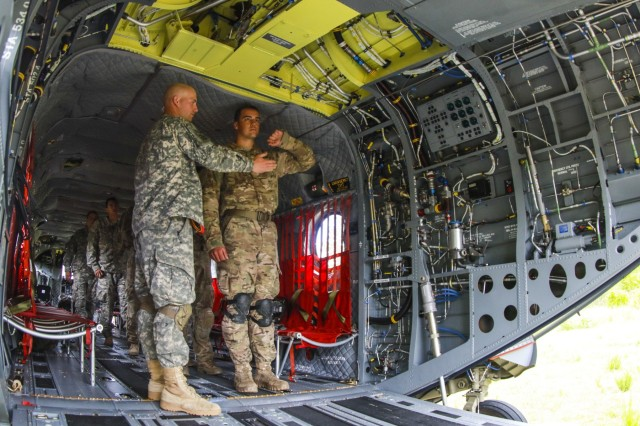 Paratroopers from the 82nd Airborne Division receive hands-on instruction for actions inside a CH-47 Chinook from the 82nd Combat Aviation Brigade during the Little Group of Paratroopers event of All American Week 2016,Fort Bragg, N.C. May 23. The LGOP event tested the paratroopers on their essential task list with events such as rigging their equipment, readying their equipment for service, and a layout of all required equipment. (U.S. Army photo by Staff Sgt. Christopher Freeman/ 82nd CAB PAO)
