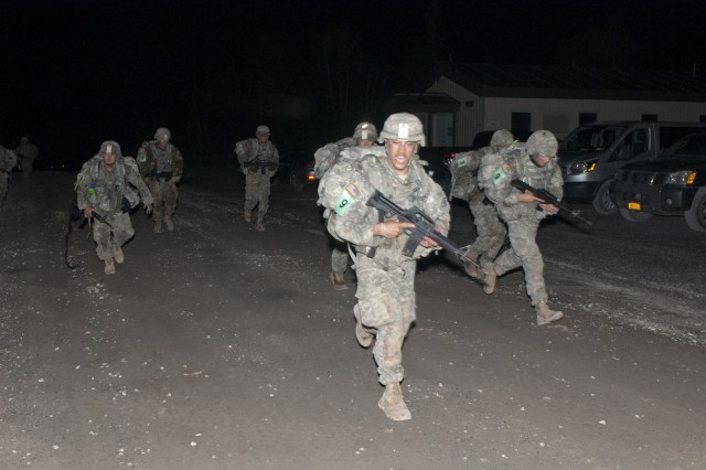 Army Soldiers from Company A, Special Troops Battalion, 86th Infantry Brigade Combat Team (Mountain), Vermont National Guard, Spc. Michael T. Babbin, Sgt. Sawyer D. Batten, assistant team leader, Private 2 Austin J. Demasisayers, Spc. Jody A. Fabian, Staff Sgt. Randy S. Hook, team leader, Spc. Jason W. Knight, Spc. Mathew P. Latour, Spc. Calvin J. Miller, compete in the ruck march during the 2016 Sapper Stakes competition at Fort Drum, New York, during the third year of the competition.
