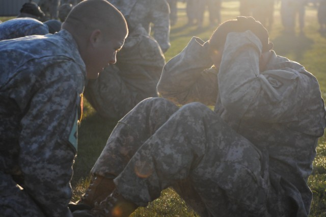 A Soldier competing in the 2016 Sapper Stakes does situps at the rigorous engineer contest challenging other teams to be the best sapper team in the U.S. Army.
