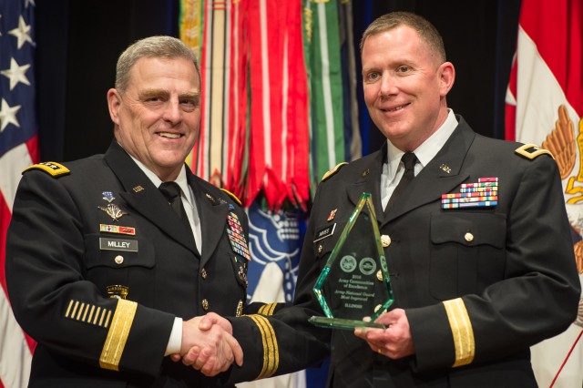 """Chief of Staff of the U.S. Army Gen. Mark A. Milley, left, recognized the Illinois National Guard as having """"most improved"""" Army installations, during the 2016 Army Communities of Excellence Awards ceremony, May 24, 2016, in the Pentagon.  Maj. Gen. Richard J. Hayes Jr. accepted the award."""
