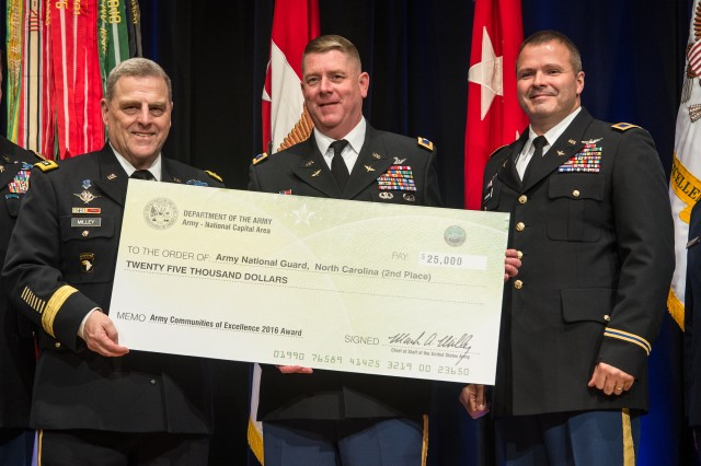 Chief of Staff of the U.S. Army Gen. Mark A. Milley, left, recognized the North Carolina National Guard, as the Army National Guard 2rd place winner for installation excellence, during the 2016 Army Communities of Excellence Awards ceremony, May 24, 2016, in the Pentagon. Col. Todd C. Hunt accepted the award.