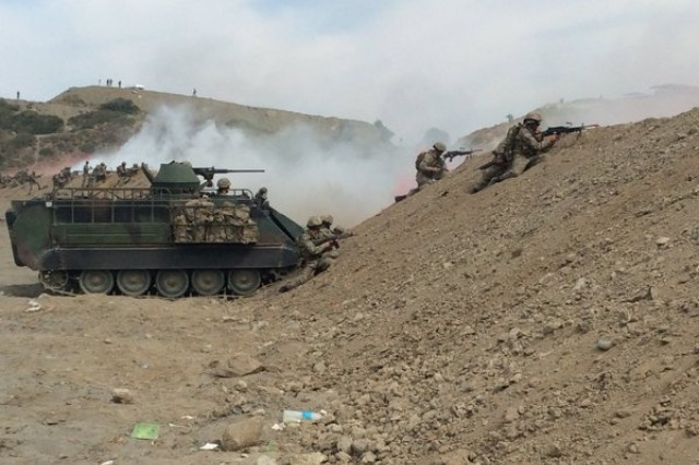 Turkish armored forces conduct amphibious assault in support of a  173rd Airborne Brigade ground assault during exercise EFES 2016 in Turkey.