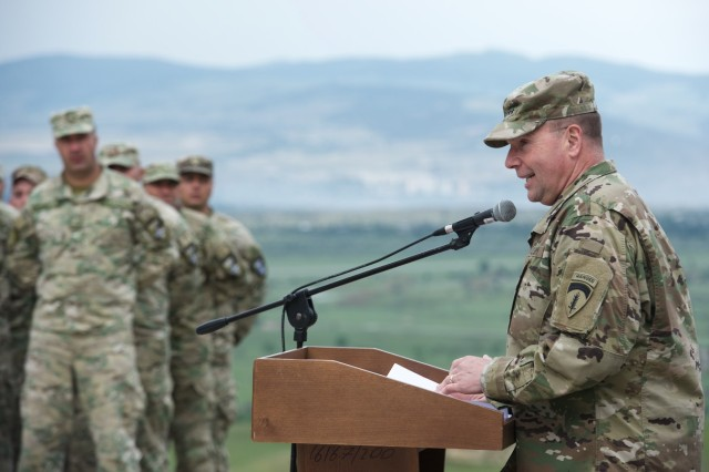 Lt. Gen. Ben Hodges, U.S. Army Europe's commanding general, speaks to U.S., United Kingdom and Georgian soldiers during the closing ceremony of Exercise Noble Partner 16 at Vaziani Training Area, May 24. The exercise welcomed senior leaders from across NATO Allied and partner nations as the exercise begin wrapping.The day served as an opportunity for participating units to demonstrate their capabilities to distinguished visitors and also as the closing ceremony. Exercise Noble Partner 16 is a Georgian and U.S. military training exercise taking place at Vaziani Training Area, Georgia, May 11 to 26, 2016. This exercise is a critical part of Georgia's training for its contribution of a light infantry company to the NATO Response Force (NRF) and enhances Georgian territorial self-defense capability.