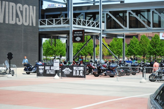 Nearly 500 motorcycles are lined up to take part in the Milwaukee Armed Forces Day 13th Annual Support the Troops Ride May 21. (Photo by Spc. Brianna Saville)
