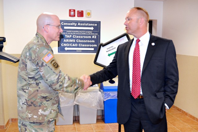 Matthew Selph (right), assistant executive director of the Kentucky State Board of Elections, greets Brig. Gen. James T. Iacocca, The Adjutant General of the U.S. Army, welcomes Brig. Gen. James T. Iacocca, The Adjutant General of the U.S. Army, to an Installation Voting Assistance Officer workshop conducted at Fort Knox, Kentucky, May 25. Iacocca addressed unit and agency voting assistance officers from across the installation. More than 30 workshops are being held at Army installations worldwide in a concentrated effort to ensure that every Soldier, family member and Army civilian knows exactly how to register and cast their ballots in the upcoming elections.