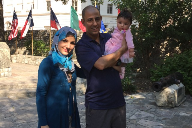 Sgt. Yaseen Witwit, his wife and daughter visit San Antonio, Texas, while he was stationed with the 163rd Military Intelligence Battalion, 504th MI Brigade in Fort Hood, Texas.