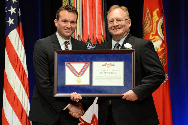 During the 2016 Secretary of the Army Awards ceremony, May 25, 2016, in the Pentagon, Secretary of the Army Eric K. Fanning recognized Sherman L. Fleek, historian at the U.S. Military Academy at West Point, New York, with the Secretary Of The Army Award for Valor.