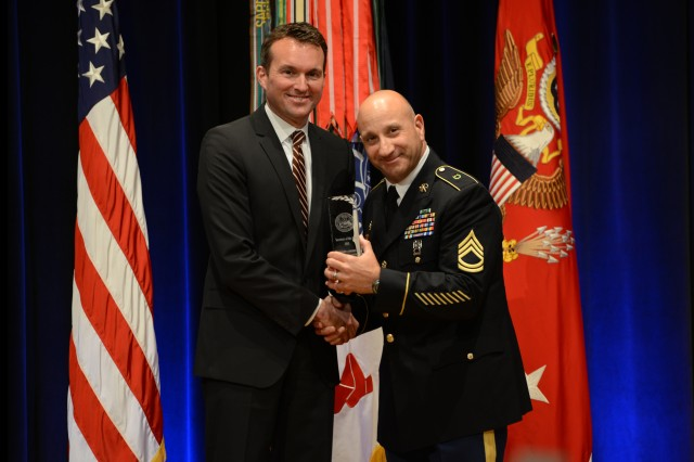 During the 2016 Secretary of the Army Awards ceremony, May 25, 2016, in the Pentagon, Secretary of the Army Eric K. Fanning recognized Sgt. 1st Class Anthony J. Lombardo, Jr., equal opportunity advisor, 25th Combat Aviation Brigade, Wheeler Army Airfield, Hawaii, with the Diversity and Leadership Award (Equal Opportunity Advisor).