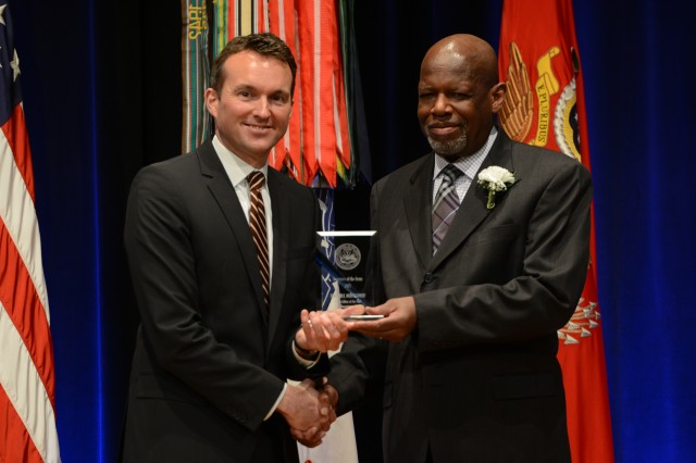 During the 2016 Secretary of the Army Awards ceremony, May 25, 2016, in the Pentagon, Secretary of the Army Eric K. Fanning recognized Edward E. Montgomery, human resource specialist (military), Directorate of Military Personnel Management, Office of the Deputy Chief of Staff, G-1, the Pentagon, with the Secretary of the Army Award for Editor of the Year (Departmental).