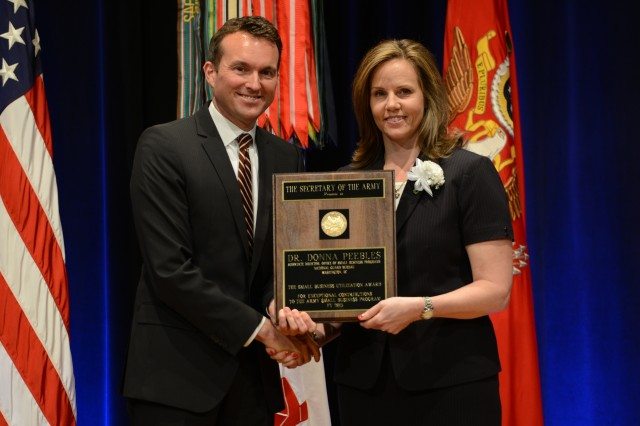 During the 2016 Secretary of the Army Awards ceremony, May 25, 2016, in the Pentagon, Secretary of the Army Eric K. Fanning recognized Dr. Donna Peebles, director, Office of Small Business Programs, National Guard Bureau, Washington, D.C., with the Small Business Utilization Award.