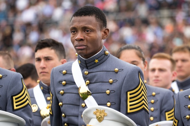 Cadet Alix Idrache sheds tears of joy during the commencement for the U.S. Military Academy's Class of 2016 at Michie Stadium in West Point, May 21. Nine hundred and fifty-three cadets graduated, which represented approximately 78 percent of the cadets who entered West Point in the summer of 2012. Vice President Joe Biden was the graduation speaker. This is the 218th graduating class of West Point. This class included 151 women, 77 Hispanics, 71 Asian/Pacific Islanders, 69 African-Americans and 12 Native Americans. The class also had 25 combat veterans (24 male, one female).