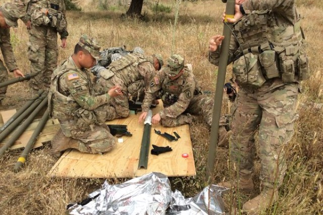 Engineer paratroopers prepare brazier charges with C4 to conduct obstacle breach during EFES 2016 in Turkey.