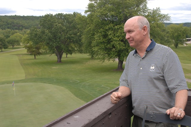 Gary Groff looks over Piney Valley Golf Course from the clubhouse. Groff, a certified professional in golf operations with the PGA, took over management of the golf course one year ago. He has put together several new events and activities that made their debut this spring.