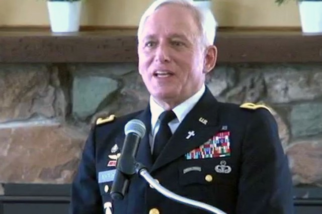 Chaplain (Colonel) Blake Boatwright, U.S. Army (Retired), spoke at the Dugway National Day of Prayer luncheon, May 4, at Dugway Proving Ground. (Army photo by Bonnie Robinson, Dugway Public Affairs)