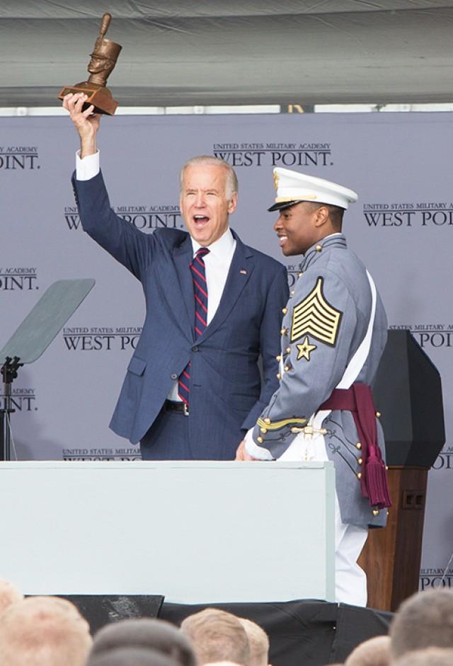 Vice President Joe Biden receives a Tarbucket Bust