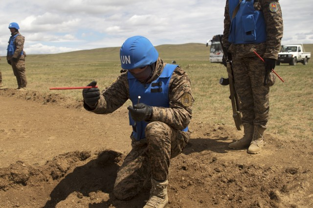 Members of the Mongolian Armed Forces participate in minefield self-extraction training during Khaan Quest 2016 at Five Hills Training Area near Ulaanbaatar, Mongolia.