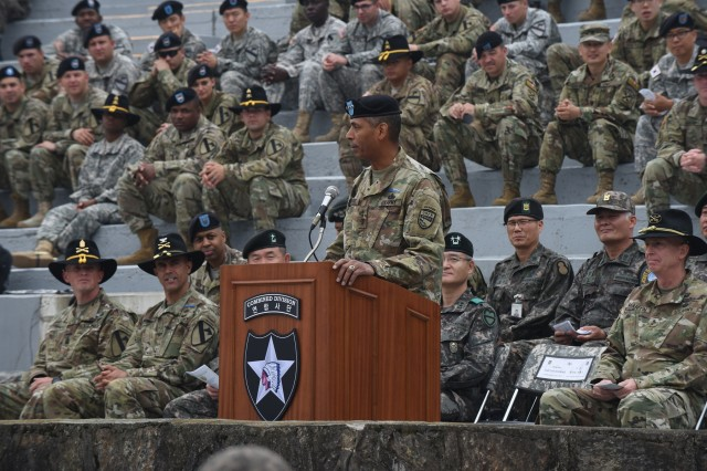 "Gen. Vincent Brooks, commanding general, U.S. Forces Korea, congratulates the 131 U.S. and South Korean Soldiers that earned the Expert Infantryman Badge during a ceremony May 26 at Camp Casey, South Korea. ""Well done by each and every one of you earning this coveted and very distinguished badge,"" said Brooks, who earned the EIB as a captain. ""To this day, the EIB remains one of my proudest accomplishments in my 40-year career."" (U.S. Army photo by Staff Sgt. Keith Anderson, 1st Armored Brigade Combat Team Public Affairs, 1st Cav. Div.)"