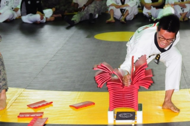 A Soldier from the Republic of Korea First Army smashes through a stack of panels during the ROK-U.S. Army Friendship Taekwondo Exhibition at Yongsan Garrison, South Korea 26th May 2016.