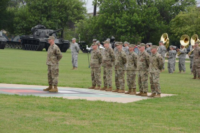 During a May 31 ceremony at Cameron Field on Fort Hood, well wishers said farewell to The 36th Infantry Division headquarters element tasked with assuming command of Train, Advise, and Assist Command South, the first National Guard headquarters to command a TAAC in Afghanistan. More than three hundred dignitaries, families, and friends attended.