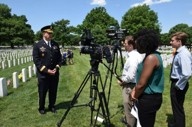 Maj. Gen. Kevin O'Connell, commanding general, U.S. Army Sustainment Command, speaks with the media following the Rock Island National Cemetery Memorial Day ceremony, May 30. (Photo by Eric Cramer, U.S. Army Garrison-Rock Island Arsenal Public Affairs)