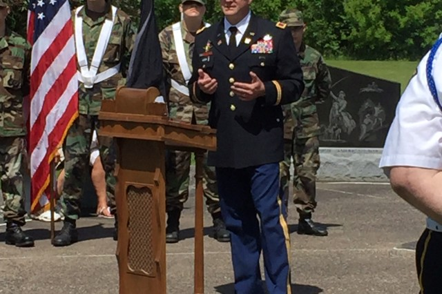 Col. Lance Koenig, U.S. Army Sustainment Command chief of staff, provided keynote remarks during the City of Davenport Memorial Day ceremony at Memorial Park, May 29. (Courtesy photo)