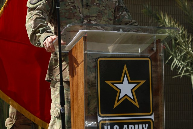 Maj. Gen. William Hickman, the deputy commanding general -- operations for U.S. Army Central speaks at the Memorial Day service hosted by USARCENT and the Area Support Group -- Kuwait on May 30, 2016 at Camp Arifjan, Kuwait. The Memorial Day service honors fallen Servicemembers. (Photo by Spc. Angela Lorden/Released)