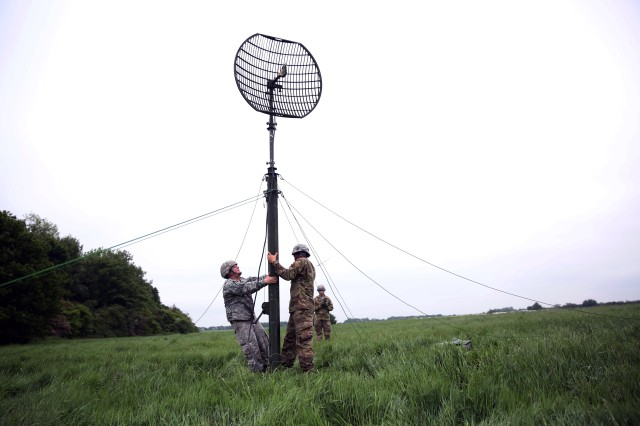 U.S. Army Soldiers from the 44th Expeditionary Signal Battalion, 2nd Signal Brigade, set up a line-of-sight antenna ahead of a cross training event with Soldiers from the British Army's 250th Gurkha Signal Squadron, 30th Signal Regiment, June 1, 2016 during exercise Stoney Run in Bramcote, England. Stoney Run is an annual U.S.-U.K. signal exercise designed to test and validate communications and network capabilities, and enhance interoperability and partner capacity between the two NATO Allies.