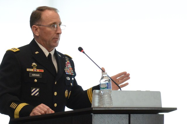 Gen. Robert B. Abrams. commander, U.S. Army Forces Command, speaks at the Association of the United States Army-sponsored Army Force Projection & Sustainment hot topics forum at Arlington, Va., June 2, 2016.