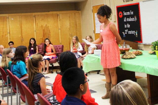 Erika Clayton, FRES Beta Club president, begins the spring induction ceremony during the Rainbow Induction Ceremony at the school May 17.