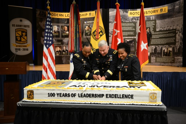 Gen. Dennis L. Via, commander of Army Materiel Command, Maj. Gen. Christopher P. Hughes, commanding general of Cadet Command, and ROTC Cadet 1st Lt. Morgan Mercer, of Bowie State University, cut a birthday cake, spoke June 3, 2016, during the 100th Anniversary of ROTC commemoration at Pentagon.
