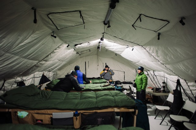 The Natick Soldier Research, Development and Engineering Center, or NSRDEC, provided shelter support to the Navy during its biannual Ice Exercise in the Arctic Ocean. NSRDEC provided the Navy with shelters featuring airbeam technology. Airbeam shelters can be set up easily and quickly and held up well under the Arctic's harsh temperature and winds.