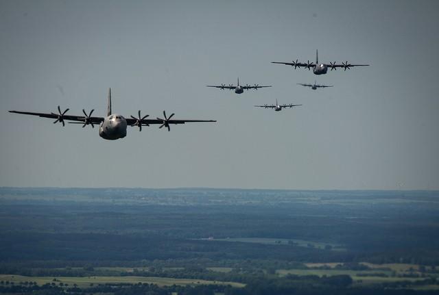 U.S. Air Force C-130J Hercules formation