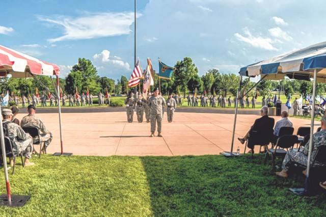 The Fort Leonard Wood community observes retreat during last year's Army birthday celebration held on the Maneuver Support Center of Excellence Plaza.
