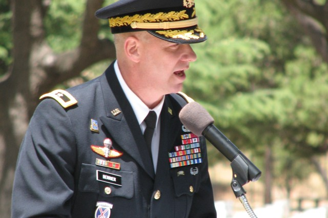 Maj. Gen. Scott D. Berrier, commander, U.S. Army Intelligence Center of Excellence and Fort Huachuca, addresses the audience during the Memorial Day ceremony at the Old Post Cemetery May 30. Berrier spoke about people who died while living the Army Values and putting the safety of others ahead of their own.