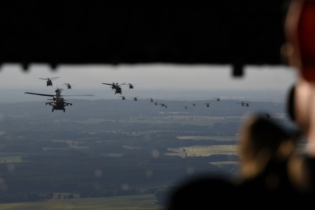 "Over 33 NATO helicopters from the Polish 1st Army Aviation Brigade, 25th Air Cavalry Brigade, and the U.S. 12th Combat Aviation Brigade ""Task Force Griffin,"" fly in formation during a battalion size air assault of over 400 Sky Soldiers from 1st Battalion, 503rd Infantry Regiment, 173rd Airborne Brigade during exercise Anakonda 16, June 10, near Wedrzyn, Poland.  Anakonda 2016 is a Polish national exercise that seeks to train, exercise and integrate Polish national command and force structures into an allied, joint, multinational environment."